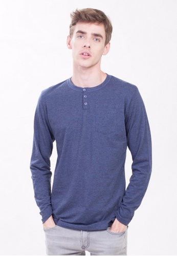 Drum 3 Button Long Sleeve Tee With Pocket-NBL DR425AA0RYCTMY_1