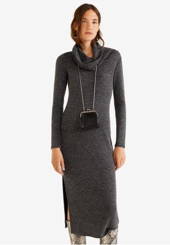 Mango grey Funnel Neck Dress E8F55AA457D721GS_1
