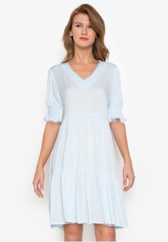ZALORA BASICS blue V-Neck Babydoll Dress A6D57AA28A7102GS_1