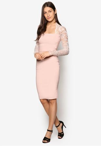 蕾絲拼袖esprit outlet hong kong及膝洋裝, 服飾, 洋裝
