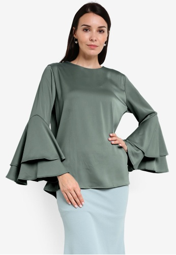 BYN green 2-Layer Flare Sleeve Top BY059AA58VJPMY_1