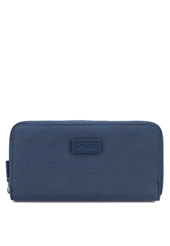 Bagstationz navy Crinkled Nylon Double Zip-Up Wallet BF99FACC8297A3GS_1