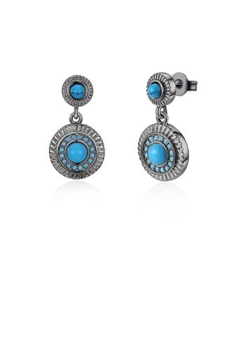 Glamorousky silver Elegant Vintage Geometric Round Turquoise Earrings 90785AC2742E48GS_1