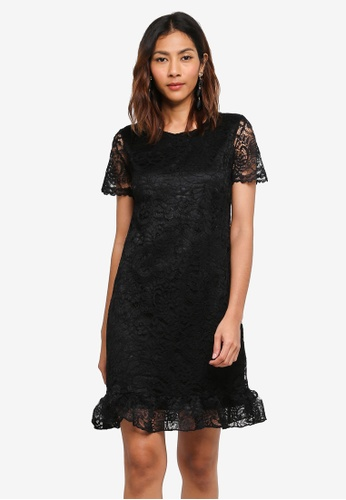 Lipsy black All Over Lace Shift Dress With Flute Hem F0E7CAA7672235GS_1