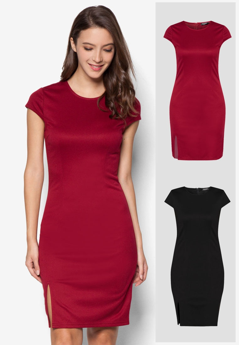 Black Basic Deep Front Pack ZALORA Dress Red Bodycon Slit 2 Rq015O