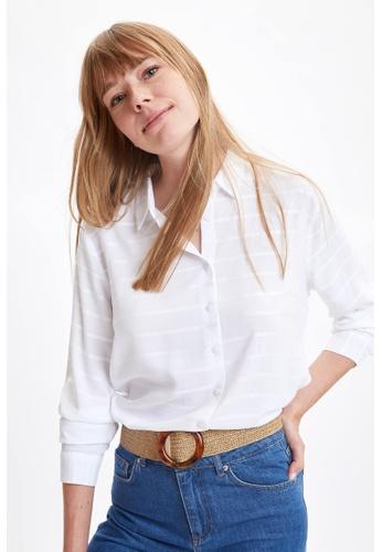 DeFacto white Woman Woven Long Sleeve Shirt ED0BBAAD015EAAGS_1