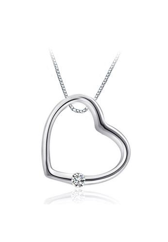 YOUNIQ silver YOUNIQ Simple Love 925 Sterling Silver Necklace Pendant with Silver Cubic Zirconia 65517ACCED0044GS_1