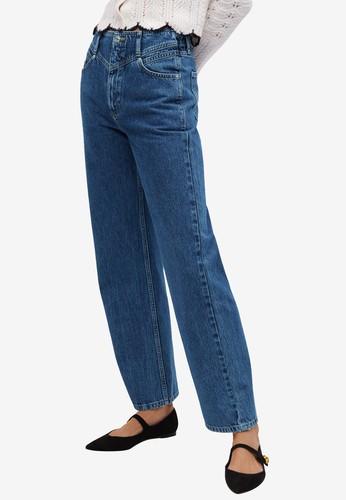 Mango blue High Waist Straight Jeans 85F5CAAC67DA79GS_1