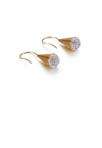 Glamorousky 白色 時尚個性鍍金色麥克風10mm鋯石316L鋼耳環 B9142AC4353C54GS_1