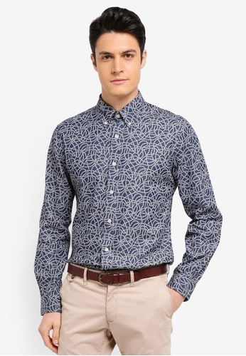Brooks Brothers blue Red Fleece Indigo Rope Print Shirt 6BE79AA7B5B275GS_1