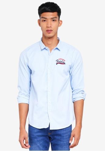 Fidelio 藍色 休閒刺繡長袖襯衫 3AF34AAC8DD201GS_1