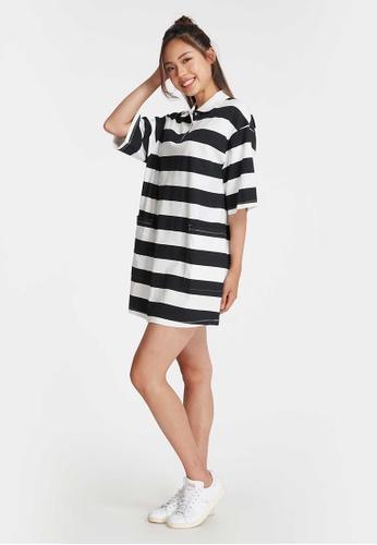 6IXTY8IGHT black BANCO, Stripe Polo Dress DS08911 4616BAABEAB355GS_1