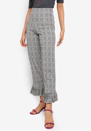 TOPSHOP 黑色 Frill Hem Trousers 307F7AAC480FCDGS_1
