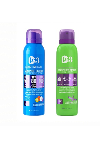 Be3 green and blue Be3 Sun Protection Progressive Spray SPF 50/80/100 (Sensitive Skin) - 90ml + Hydration Moisturizing Body Spray (Anti Mosquito) - 100ml D0C3BBEBED06F1GS_1