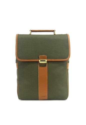 Kawamura green Lotuff Natural Leather & Waxed Canvas 3ways Multi Backpack - British Green KA871AC87WXKHK_1