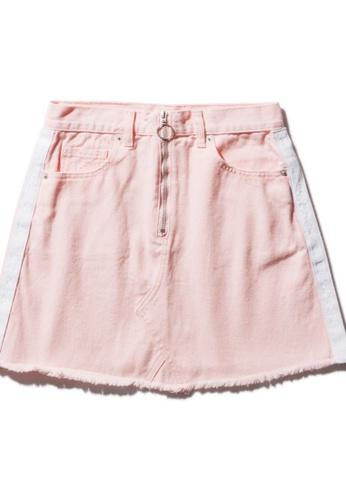 Fingercroxx pink Frayed side tape denim skirt 9990AAA8BA9F96GS_1