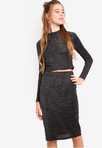 Something Borrowed grey Lurex Crop Top And Skirt Set A3041AAF412C2FGS_1