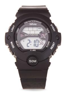 Sport Unisex Black Resin Strap Watch XJ-865-Black