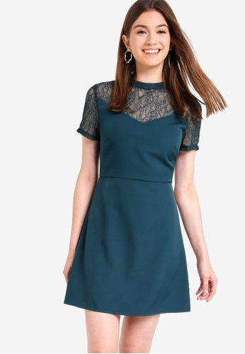 Something Borrowed green Lace Panel Fit And Flare Dress 1CB37AA70FD79AGS_1