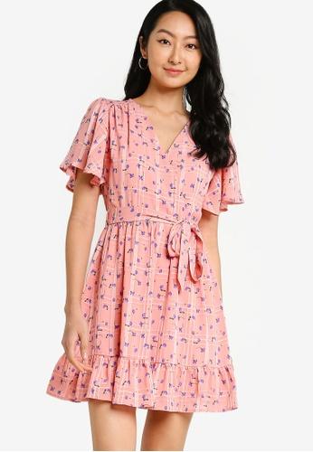 ZALORA BASICS pink Ruffle Chiffon Wrap Dress C1383AA665E2E2GS_1