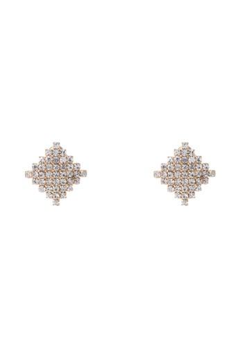 菱形鑲鑽耳環, 飾zalora 鞋評價品配件, 耳環