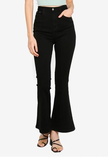 ZALORA BASICS black Basic Bell Bottom Jeans 21027AA6C14B51GS_1