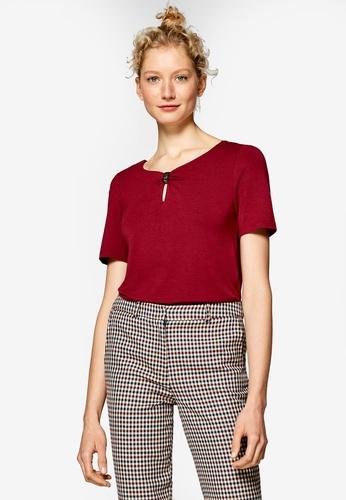 ESPRIT 紅色 短袖品牌刺繡T恤 92BAEAA41C8E18GS_1