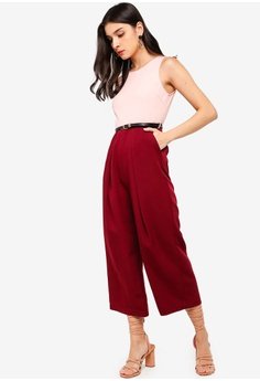 a52697fb634d ZALORA red and pink Pleat Details Jumpsuit E1AE1AAFAF6143GS 1