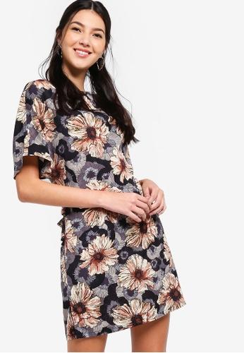 ZALORA black and multi Kimono Belted Shift Dress CCB66AA71F22B5GS_1