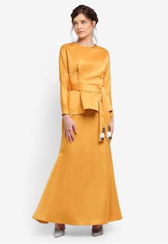 Zalia yellow Embellished Belt Shell Top Set E5946AACCC1815GS_1