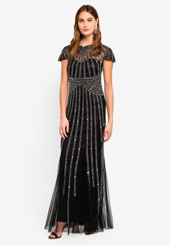 Goddiva black Sunray Hand Embellished Maxi Dress 8DE2BAA81CBDA2GS_1