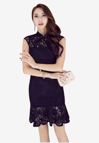 Lara black Lace Back Zipper Fasten Mermaid Dress 0D694AAA86BD64GS_1