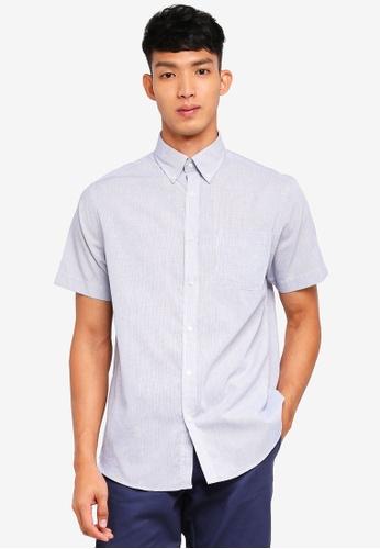 OVS 藍色 短袖印花襯衫 0CC74AA923460EGS_1