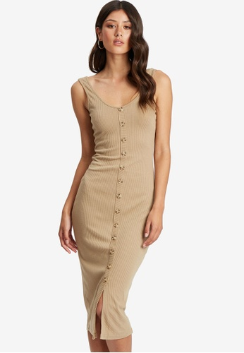 Calli beige Marlee Midi Dress EEE21AA0462236GS_1