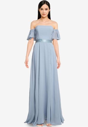 Goddiva blue Off The Shoulder Chiffon Maxi Dress With Front Split B362BAA5A9A201GS_1
