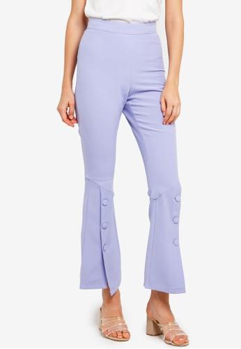 Lavish Alice blue Woven Bell Hem Tailoered Trousers FA817AA27D7F28GS_1