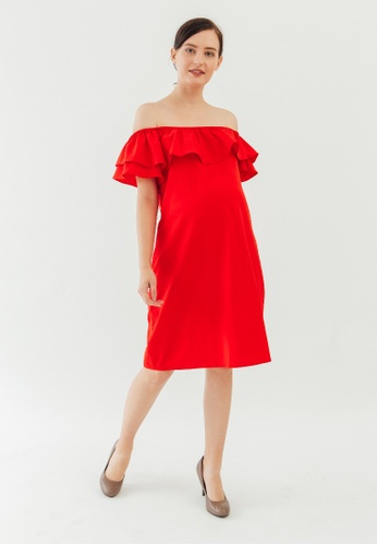 3e8e9894b77b Bove by Spring Maternity red Woven Off Shoulder Clarinda Dress Coral Red  EA9F5AA53B4B5CGS 1