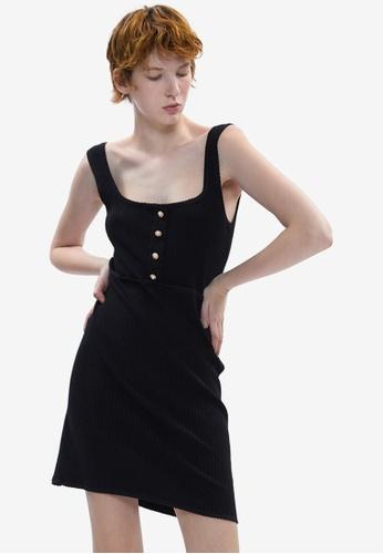 Urban Revivo black Button Rib Dress CED7AAAB4C9258GS_1