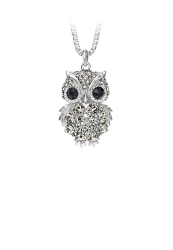 Glamorousky silver Owl Pendant with Black Austrian Element Crystal with Necklace 53BBBAC4A8F1C4GS_1