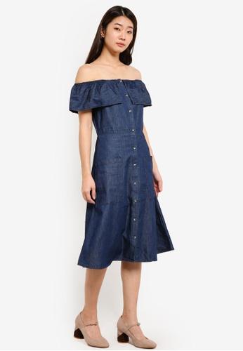 Dorothy Perkins blue and navy Indigo Bardot Midi Dress DO816AA0RJQ7MY_1