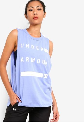 Under Armour blue Muscle Tank Linear Wordmark Top 8A5F4AAB601D1BGS_1