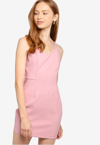 Womens Cut Out Cross Waist Bodycon Dress Pink or Beige Size 6 8 10 12