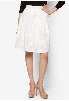 Sheer Check Skirt With Pleats
