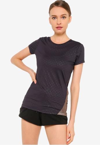 UniqTee black Printed Sport T-shirt with Mesh Panel 8C8C3AA1BC5933GS_1