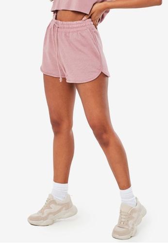 MISSGUIDED pink Tie Waist Runner Shorts 2C121AAFEE1B36GS_1