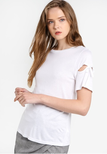 TOPSHOP white Ribbon Sleeve Tee TO412AA23GEUMY_1