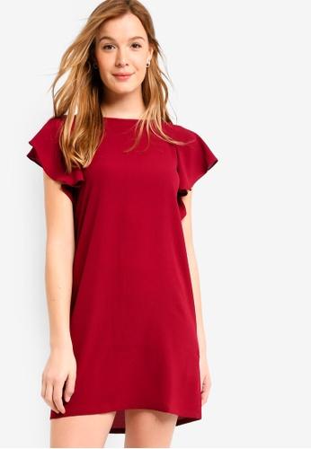 ZALORA BASICS red Basic Flutter Sleeves Dress 17AB1AA6266A41GS_1