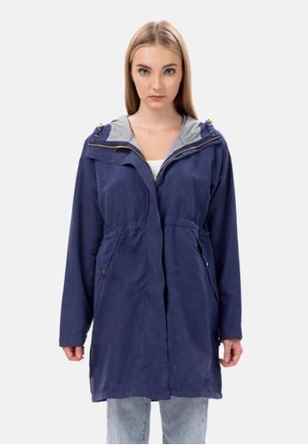 MKY Clothing navy Long Sleeve Hooded Parka Jacket in Navy B020EAAA204689GS_1