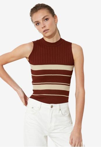 Trendyol brown Striped Sleeveless Knit Top 4C3FDAA81B3E48GS_1