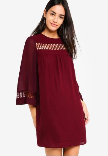 ZALORA red Lace Trim Swing Dress 8F927AA79AF2FBGS_1